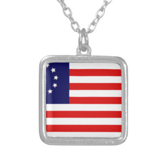 13 Colonies American Flag Silver Plated Necklace