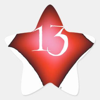 13 de diamantes pegatina en forma de estrella