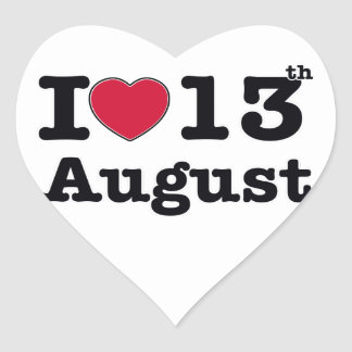 13 de julio diseño del cumpleaños pegatina en forma de corazón