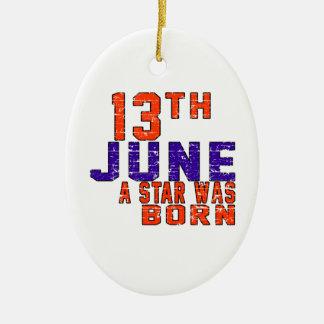 13 de junio una estrella nació adorno ovalado de cerámica