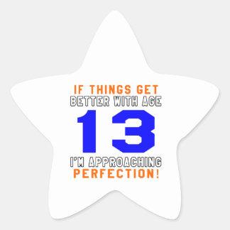 13 diseños del cumpleaños de la perfección colcomanias forma de estrellas