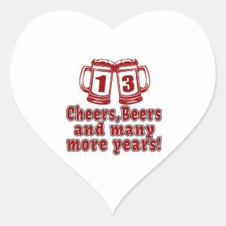 13 diseños del cumpleaños de las cervezas de las pegatina en forma de corazón