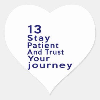 13 diseños del cumpleaños pegatina en forma de corazón