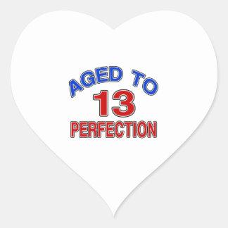 13 envejecido a la perfección pegatina en forma de corazón
