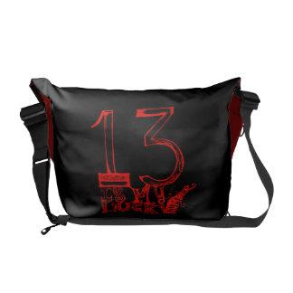 13 es la mi bolsa de mensajero afortunada del núme bolsas de mensajeria