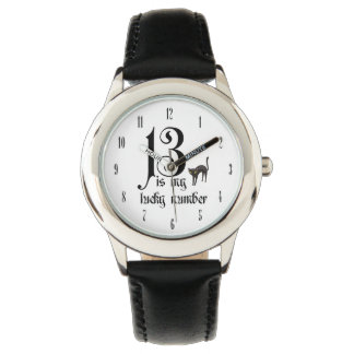 13 es mi número afortunado con el gato negro relojes de mano