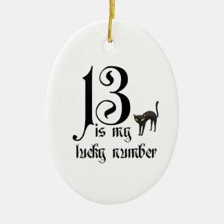 13 es mi número afortunado+gato adorno navideño ovalado de cerámica