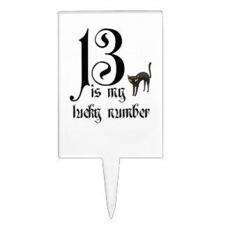 13 es mi número afortunado+gato negro /Halloween Palillos De Tarta