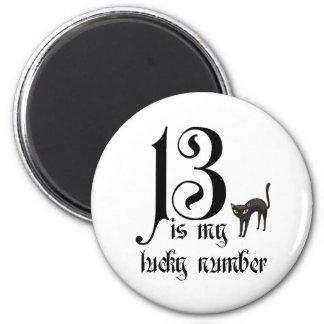 13 es mi número afortunado+gato negro imán redondo 5 cm