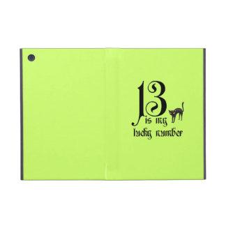 13 es mi número afortunado+gato negro/neón iPad mini fundas