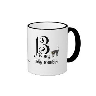 13 es mi número afortunado/gato negro taza