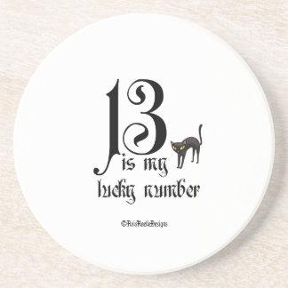 13 es mi número afortunado+gato posavasos diseño