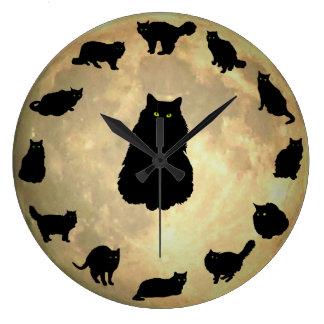 13 gatos afortunados y la luna reloj redondo grande