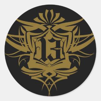 13 gold Gothic number Round Sticker
