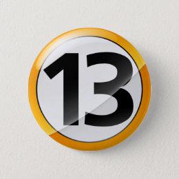 13 gold pinback button