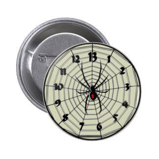 13 Hour Black Widow Clock in Frame 2 Inch Round Button