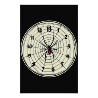 13 Hour Black Widow Clock in Frame Stationery