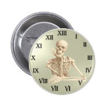 13 Hour Skeleton Clock Pinback Buttons