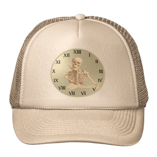 13 Hour Skeleton Clock Trucker Hat
