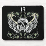 13 Hour Skull Clock Pattern Mouse Pad