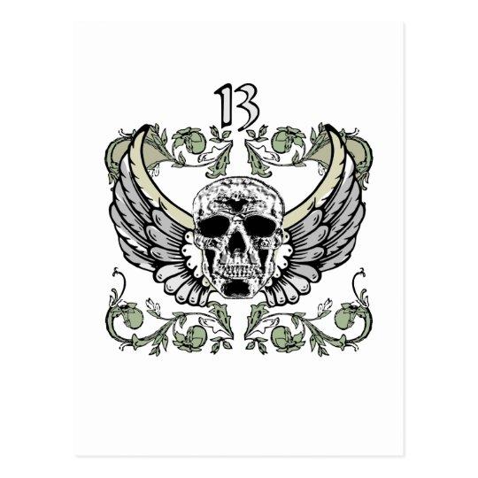 13 Hour Skull Clock Pattern Postcard