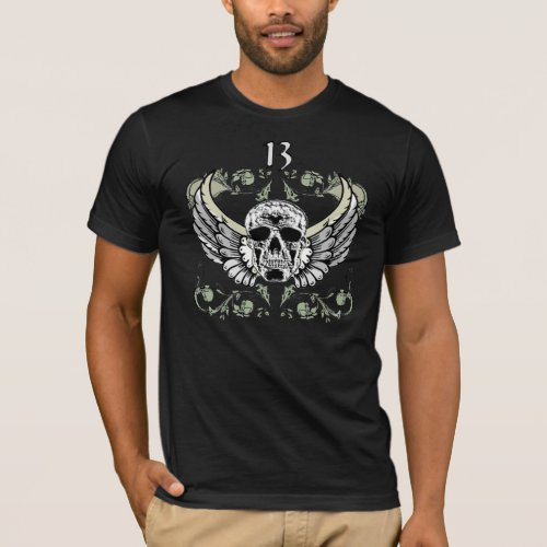 13 Hour Skull Clock Pattern T-Shirt Sales