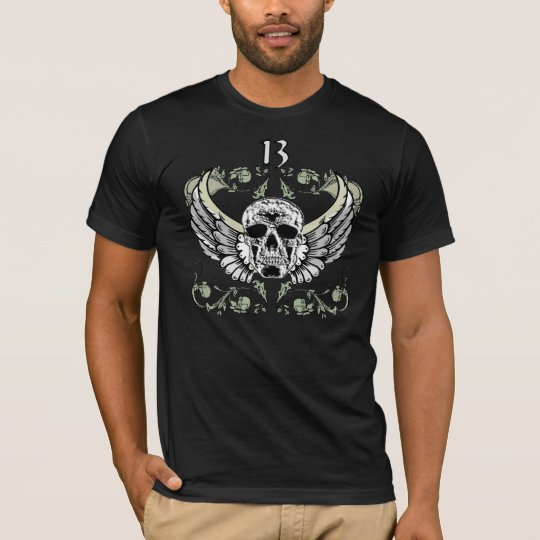 13 Hour Skull Clock Pattern T-Shirt