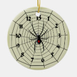 13 Hour Spider Web Clock Ornament! Customize me! Double-Sided Ceramic Round Christmas Ornament