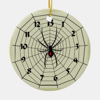 13 Hour Spider Web Clock Ornament! Customize me! Ceramic Ornament