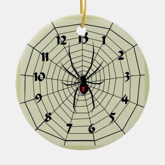 13 Hour Spider Web Clock Ornament! Customize me! Ceramic Ornament