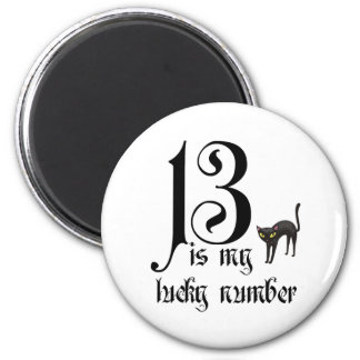 13 is my lucky number+black cat 2 inch round magnet