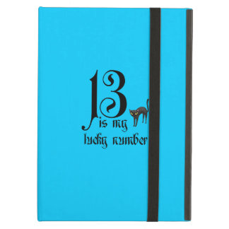 13 is my lucky number+black cat/Aqua Case For iPad Air