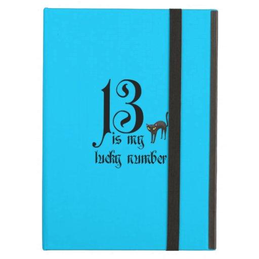 13 is my lucky number+black cat/Aqua iPad Cases
