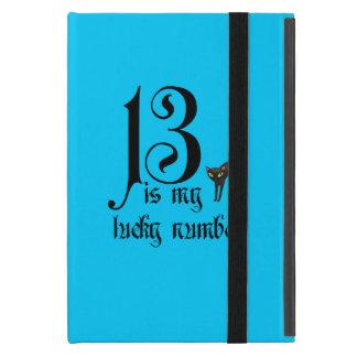 13 is my lucky number+black cat/Aqua iPad Mini Case
