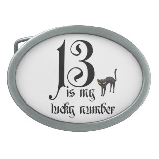 13 is my lucky number+black cat belt buckle