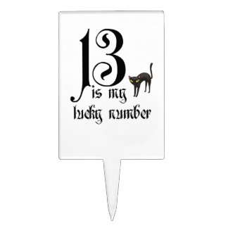 13 is my lucky number+black cat /Halloween Cake Toppers