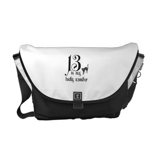 13 is my lucky number-Black cat Messenger Bags
