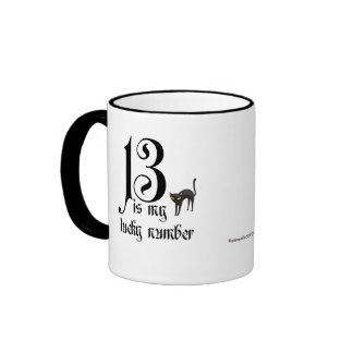 13 is my Lucky Number Black Cat Coffee Mug