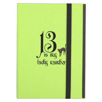 13 is my lucky number+black cat/Neon Case For iPad Air