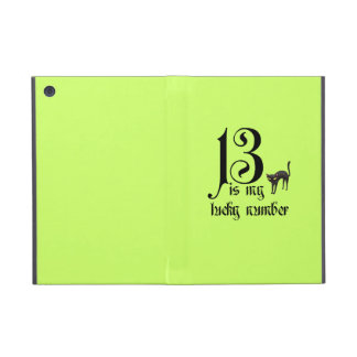 13 is my lucky number+black cat/Neon iPad Mini Cover