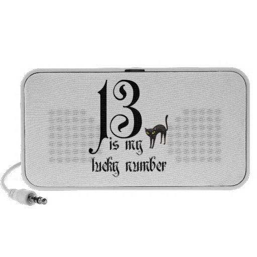 13 is my Lucky Number-Black Cat Portable Speaker