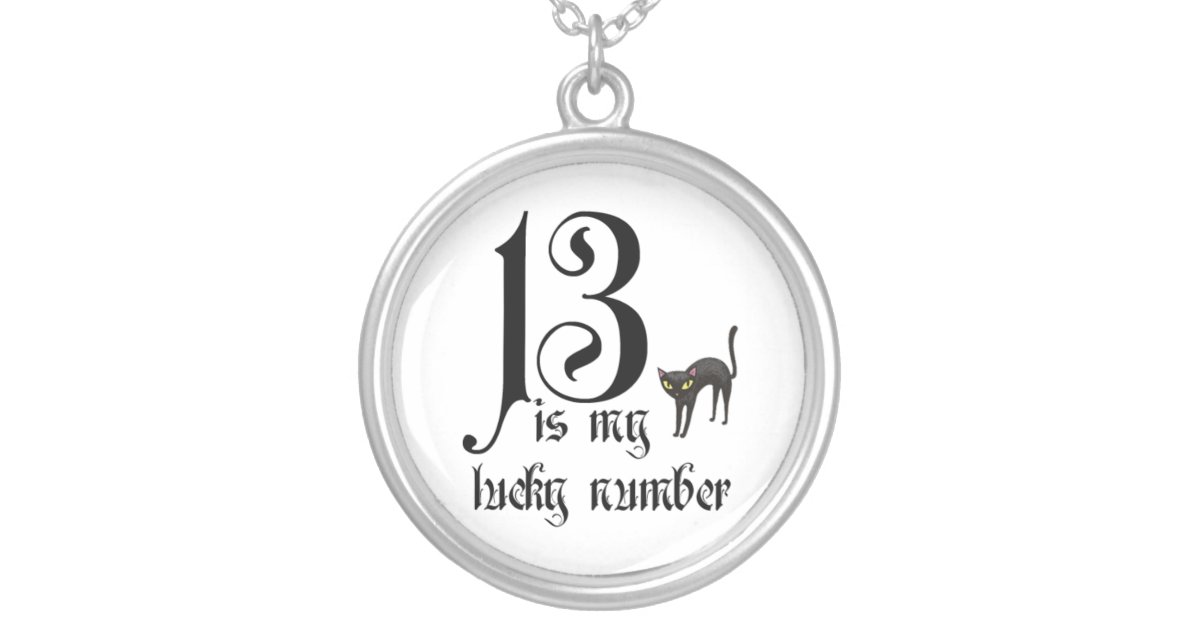 13 is my lucky number+black cat silver plated necklace | Zazzle com