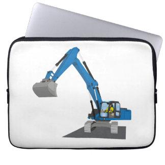 """13"""" laptop bag of blue chain excavators"""