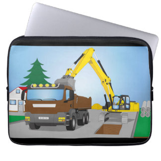 """13"""" laptop bag road site with brown truck"""