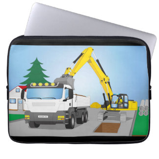 """13"""" laptop bag road site with white truck"""