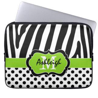 "13"" Lime Black Zebra Stripes Polka Dot Laptop Case"