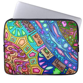 13' neoprene laptop sleeve with abstract artwork