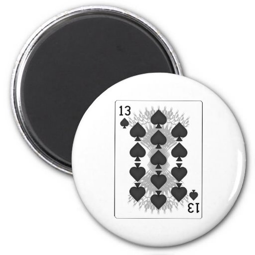 13 of Spades: Playing Card: 2 Inch Round Magnet