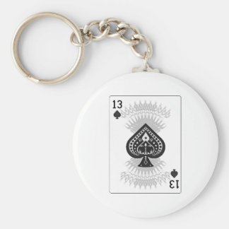 13 of Spades: Playing Card: Keychain