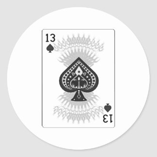 13 of Spades: Playing Card: Round Sticker
